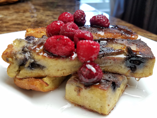 Keto Breakfast Ideas - Egg Loaf made into Blueberry Low Carb French Toast Sticks