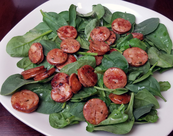 Easy Keto Meals: Baby Spinach and Chicken Sausage