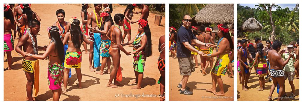 Dancing in Embera Drua Village, Charges, National Park, Panama