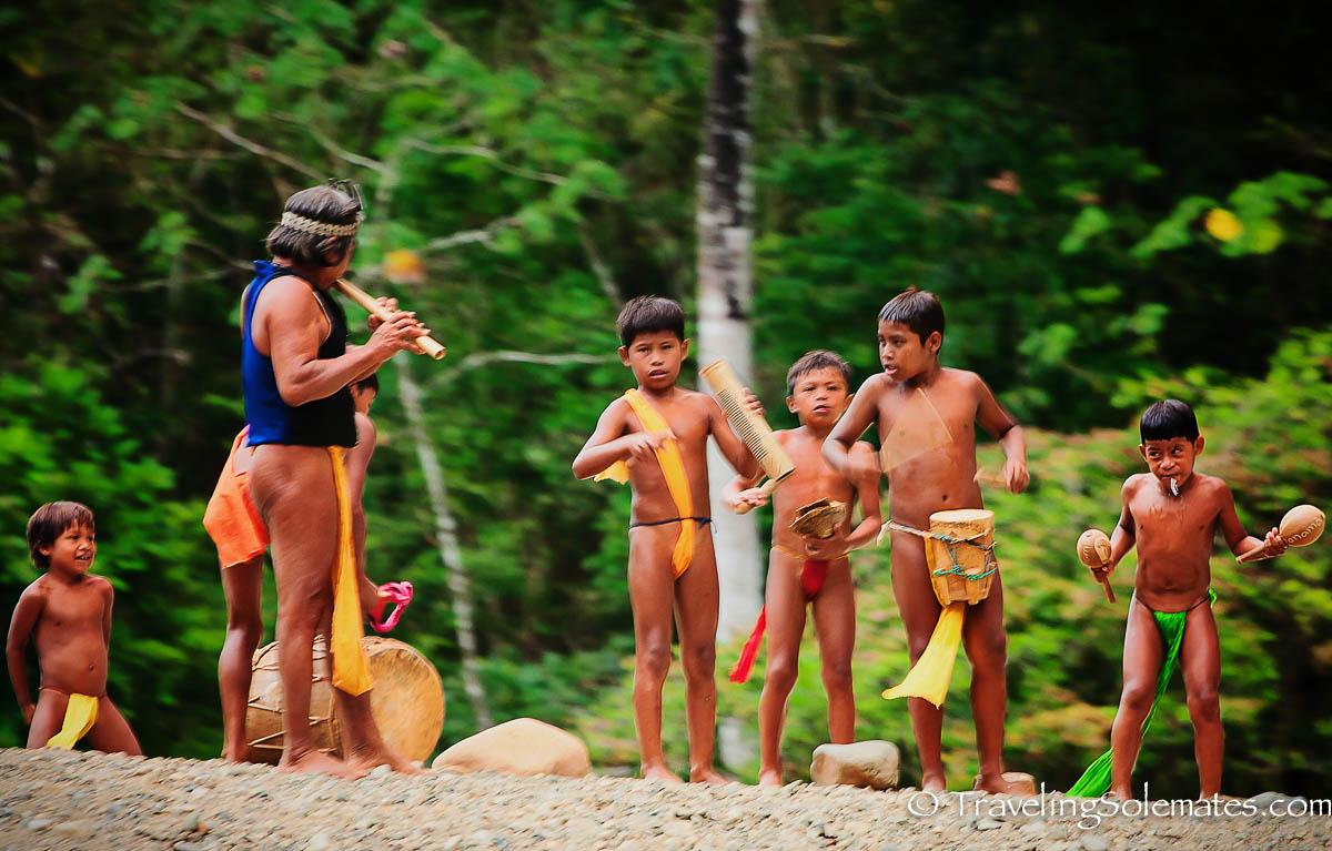 Embera Children playing instruments, Embera Village, Charges National Park, Panama