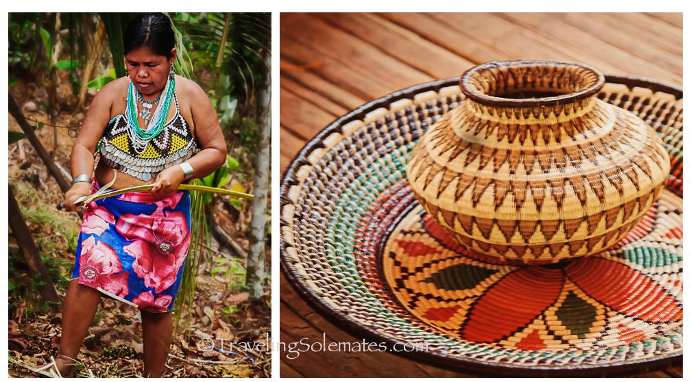 Embera Woman and Handicrafts, Embera Drua Village, Upper Charges, Panama