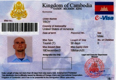 Troy's Cambodian Visa