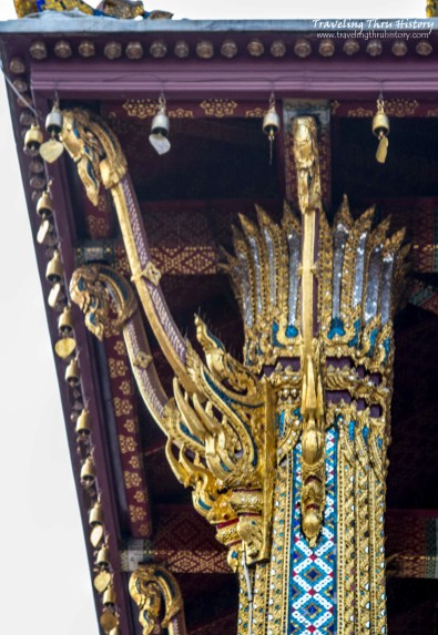Lotus-topped columns decorated with finials on the Temple of the Emerald Buddha