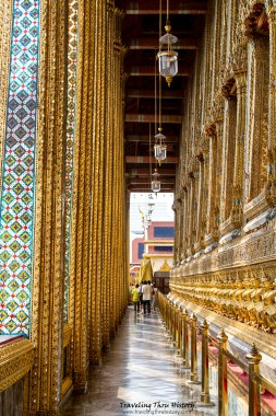 Open air walkway around the Temple of the Golden Buddha
