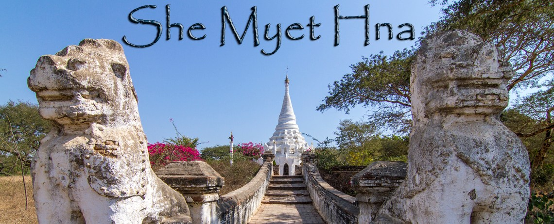 She Myet Hna is one of the 2,200 Buddhist temples, stupas, payas and pagodas that still remain of the 10,000+ that were built in Bagan, Myanmar. While most have are in ruins or disrepair, this one has been preserved and restored.