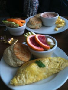 Breakfast at Over Easy Cafe.