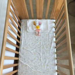 Crib with a blanket and baby shampoo and lotion