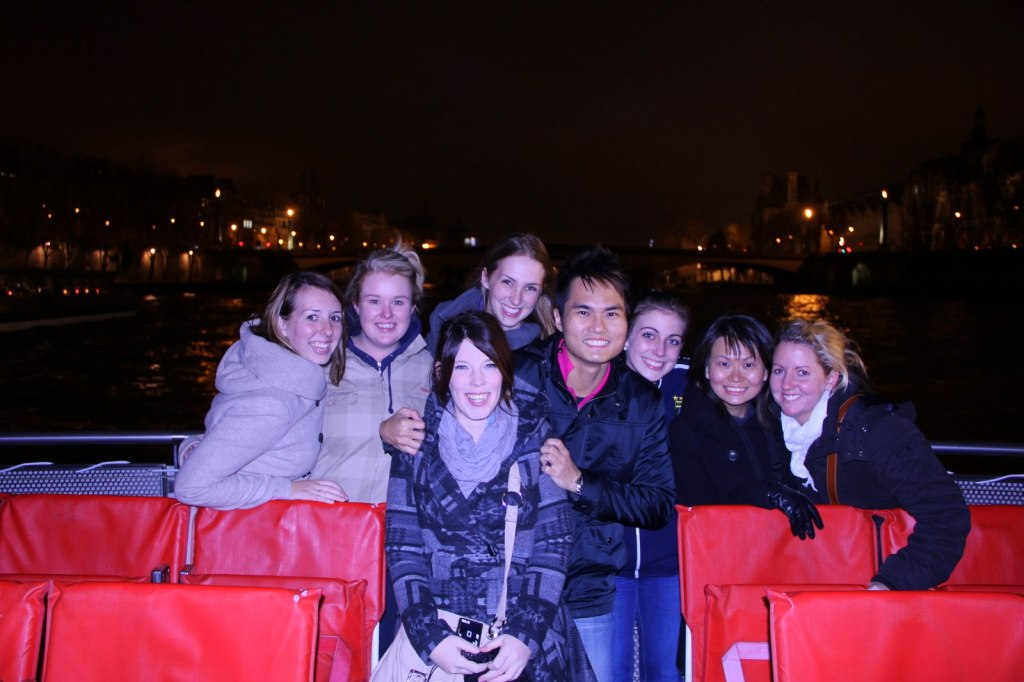 With my friends at Seine River, Paris, France