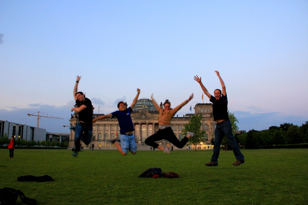 With CJ (South African), Libby (New Zealander) and Leon (South African) in Berlin, Germany