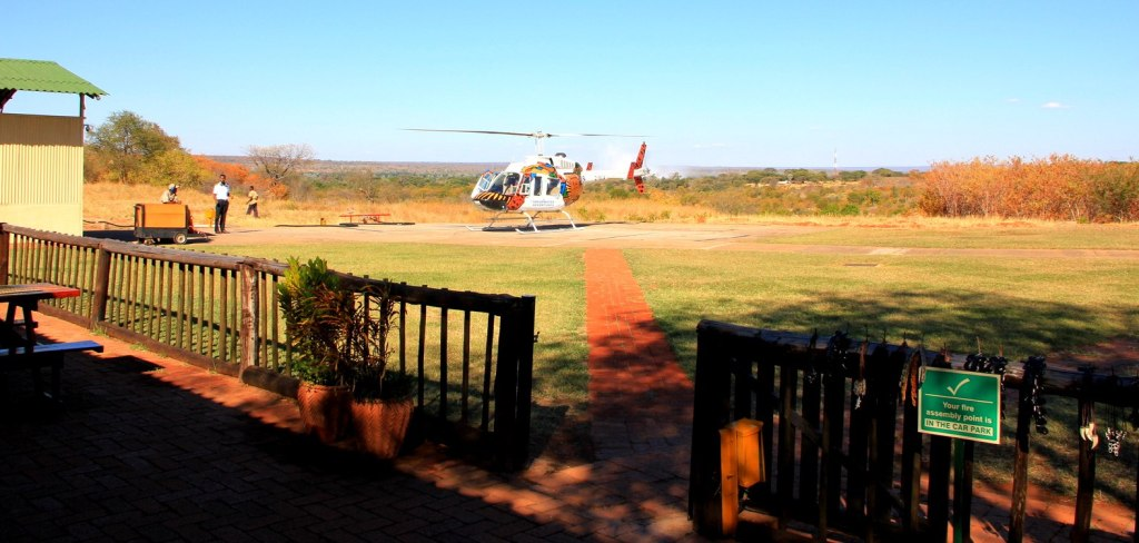 Helicopter waiting for me to see the Victoria Falls