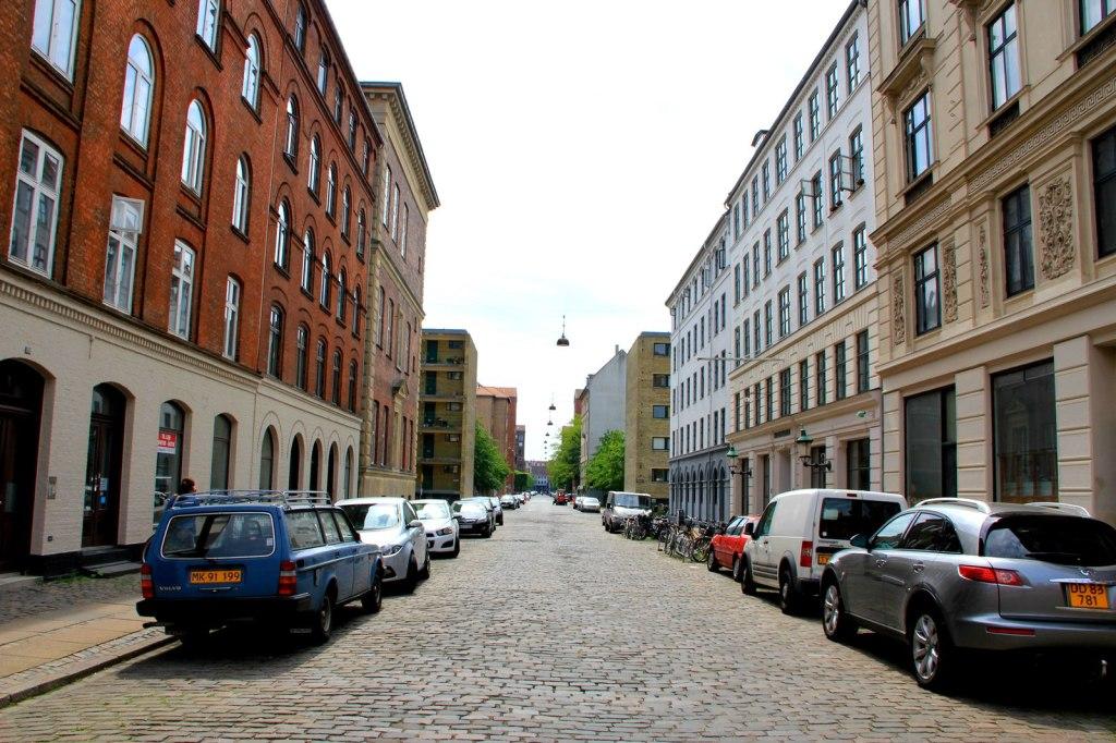 Clean quiet street in Copenhagen