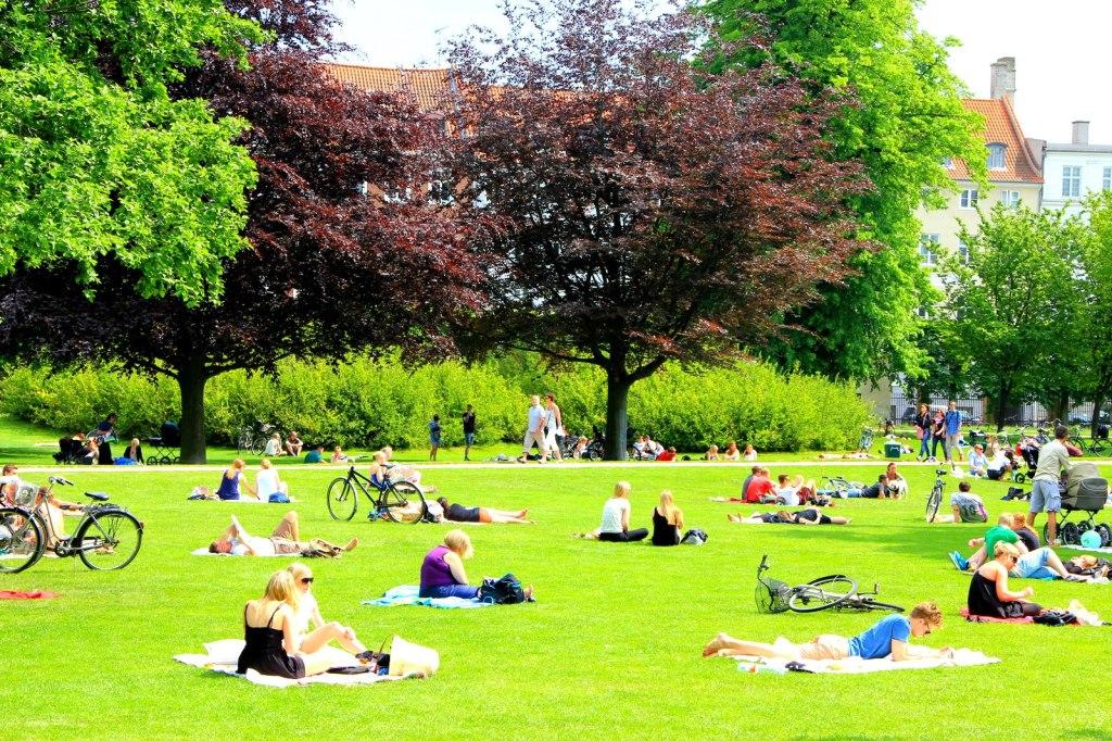 Danes enjoying the sun at the Rosenborg Castle Gardens