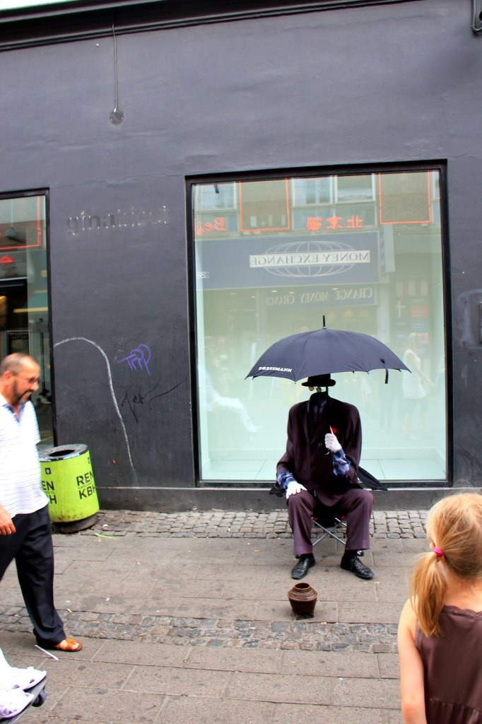 An invisible man at Stroget, Copenhagen shopping district