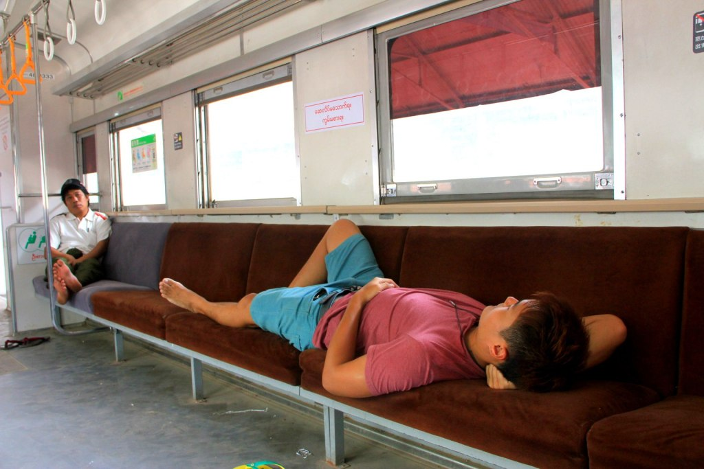 Take a nap, nothing interesting on the air-conditioned train