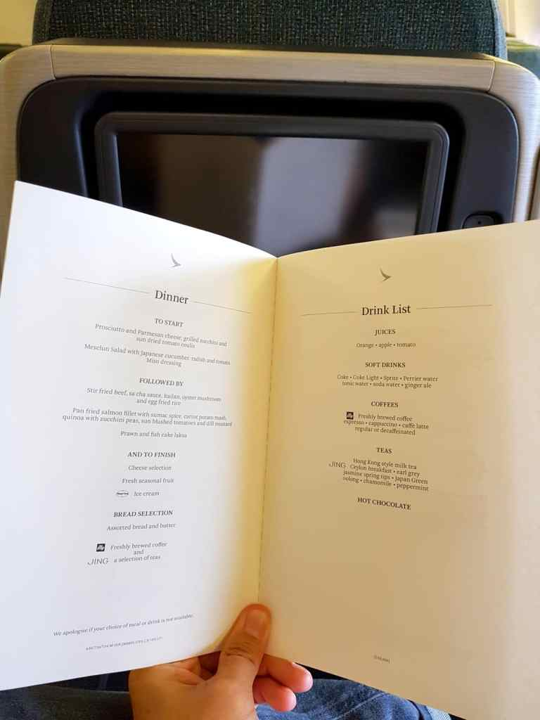Cathay Pacific Business Class Menu