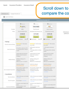 Scroll down the comparison screen to check coverage side by also compare travel insurance  complete step guide rh travelinsurancereview
