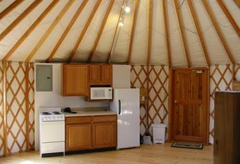 two person kitchen table industrial equipment pammel park yurt cabins - winterset, iowa