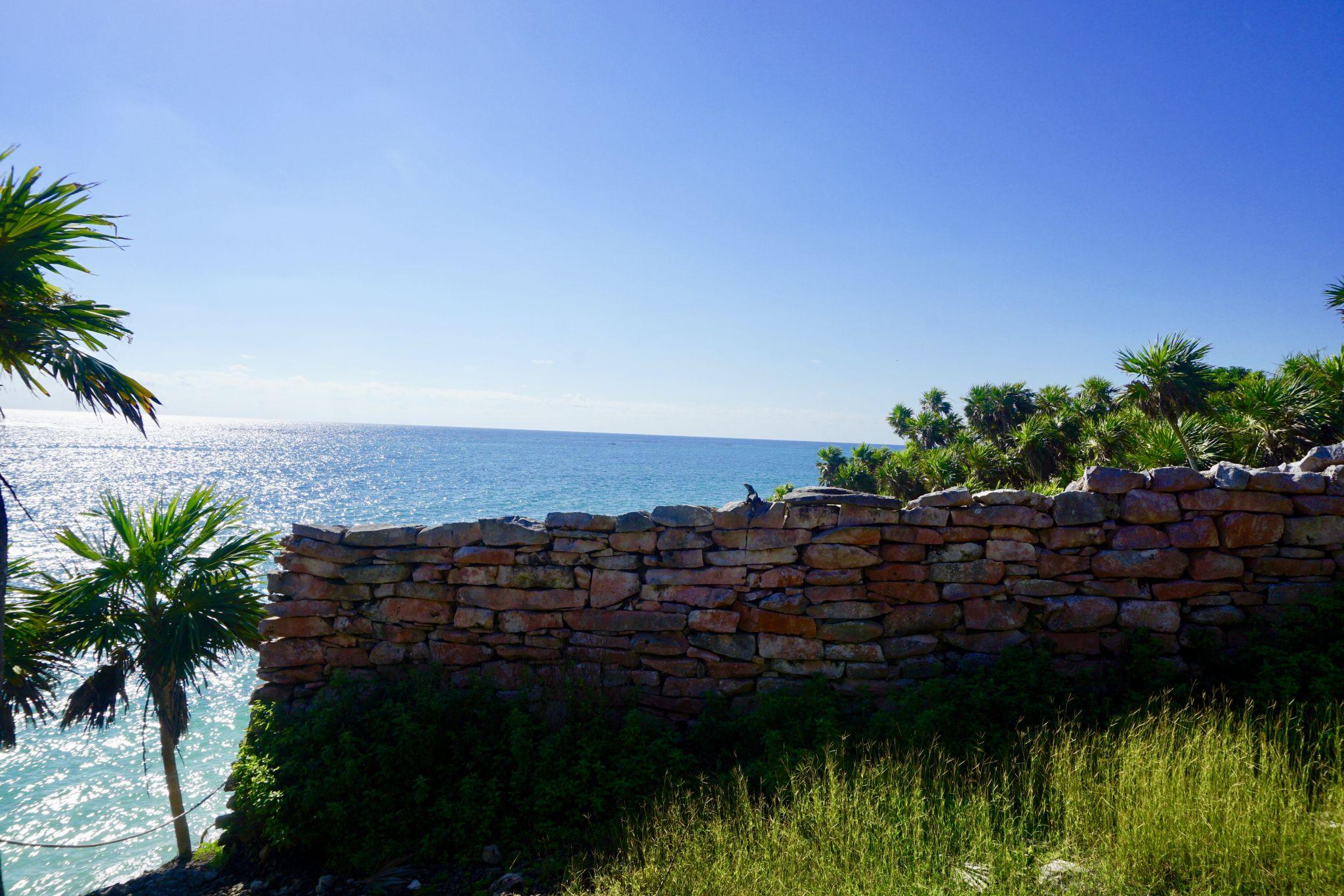 Walls surrounding the unique historical site Tulum