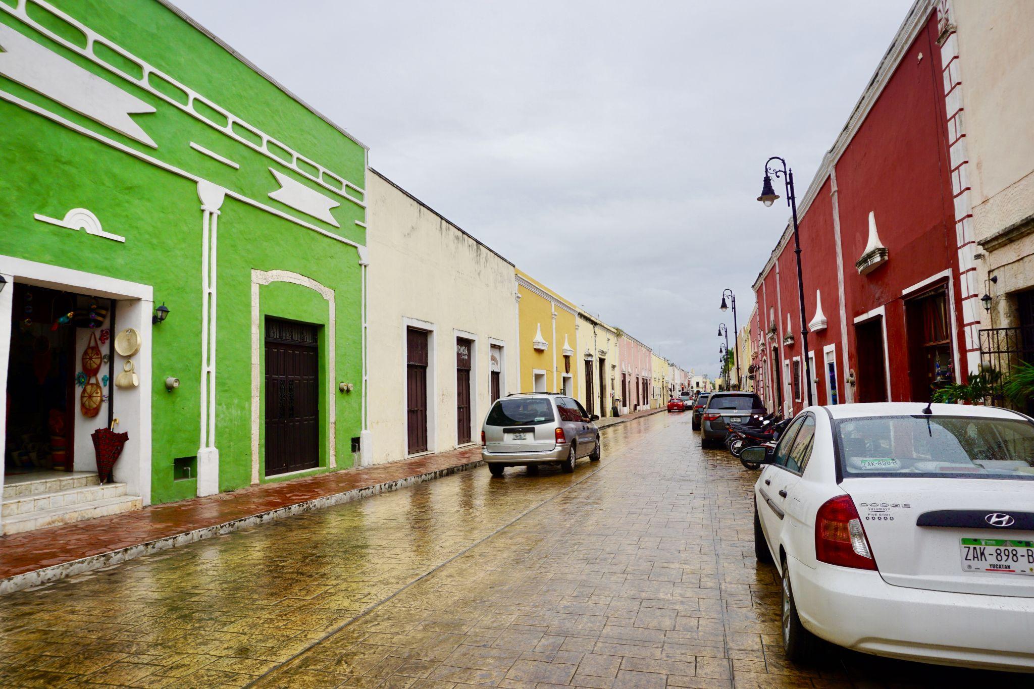 Calzada de los Frailes in Valladolid in Mexico has colourful colonial architecture