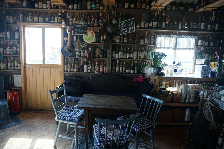 The island bar on Jurmo has an impressive bottle collection