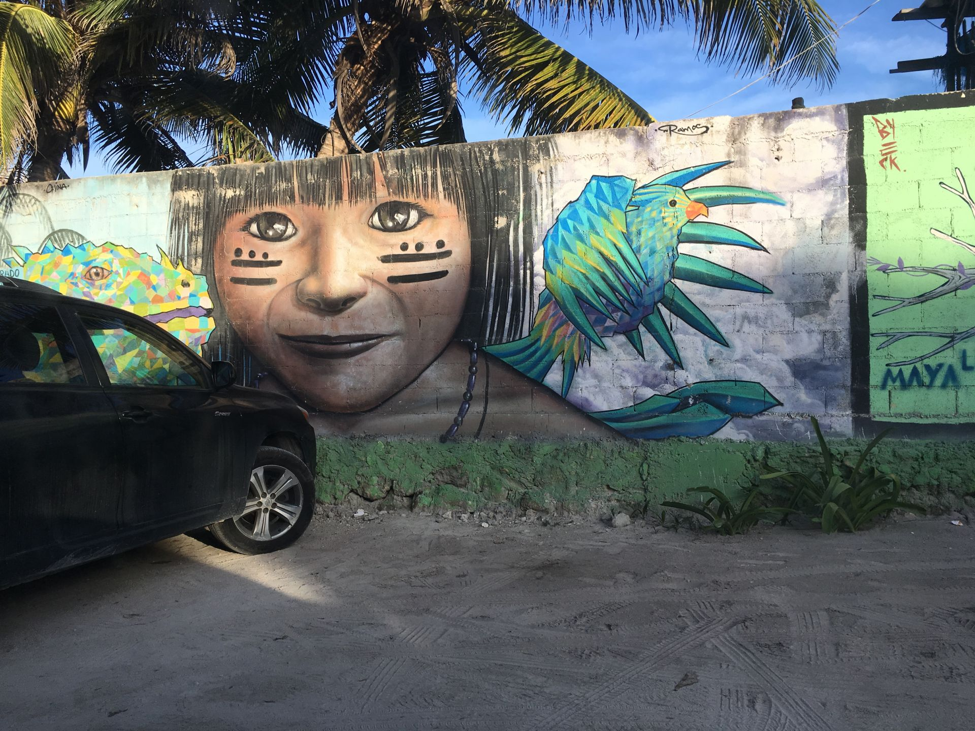 There are lots of beautiful murals in Tulum