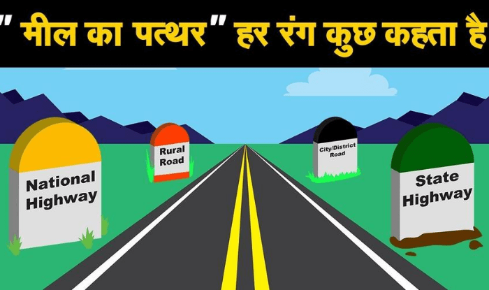 Why milestones on the highway in India are yellow, green and orange color