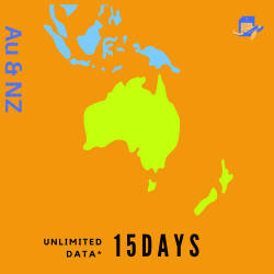 Australia & New Zealand Travel Sim Card | 15 Days | 8GB (Unlimited Data at 256kpbs) | 60 Minutes of Local Call