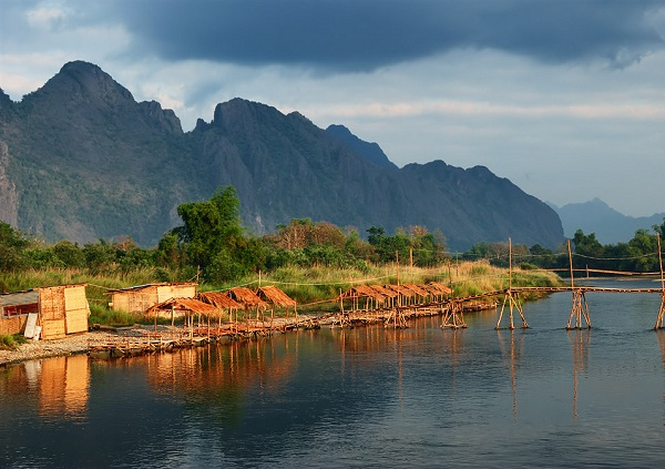 Vang Vieng's beautiful landscape with mountains, river and sky
