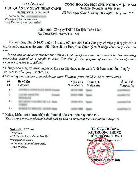Как выглядит Approval letter для визы во Вьетнам