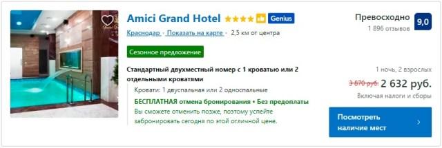 Amici Grand Hotel 4* Краснодар