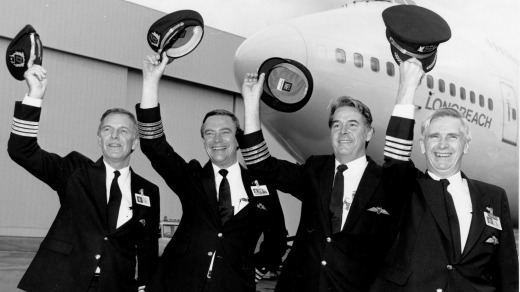 The flight crew from the record-breaking Qantas flight in 1989.