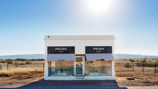Prada Marfa by artists Elmgreen and Dragset, a permanent sculpture on US 90, Valentine, near Marfa, Texas.