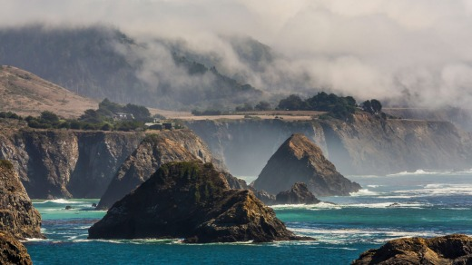 The sea stacks of Cuffey's Cove, a classic view in Mendocino County of the Pacific Coast.