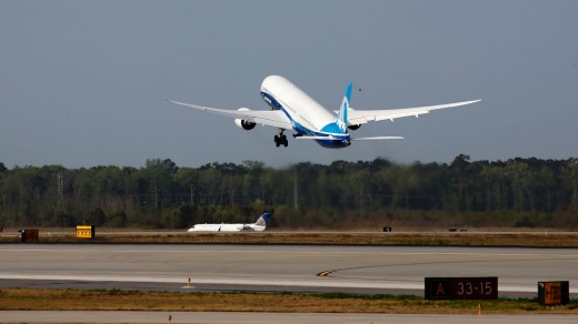 The new Boeing 787-10 Dreamliner lifts off from the runway during its first flight ceremony at Charleston International ...