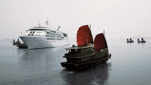 Silversea's Silver Cloud in Ha Long Bay in Vietnam.