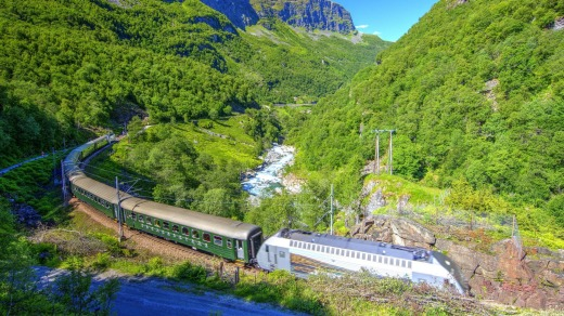 The Flam Railway climbs from sea level to the mountain station of Myrdal at 867 metres.