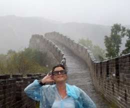 Kate on the Great wet Wall of China