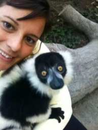 Kate with a lemur in South Africa