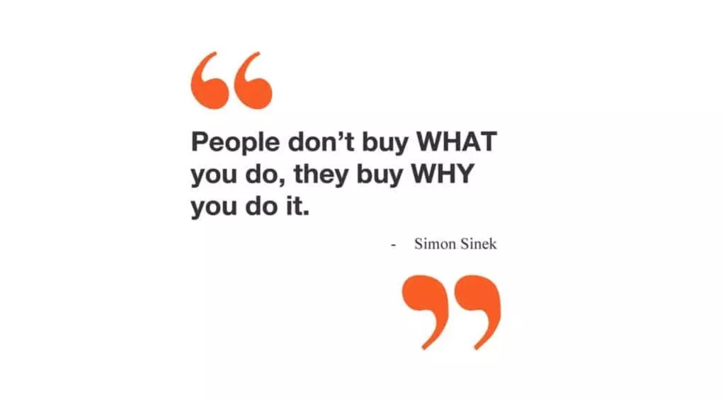 quote by simon sinek - people don't buy what you do, they buy why you do it.