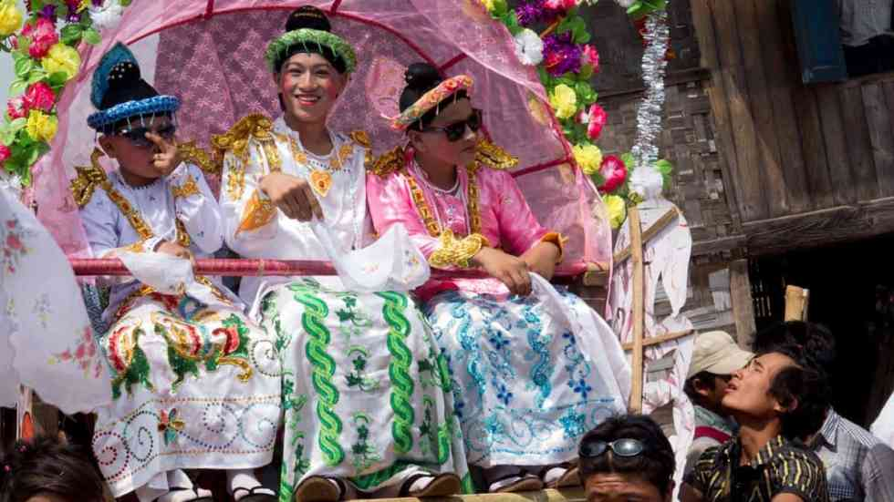 Boys on the Pandal for the procession , Myanmar