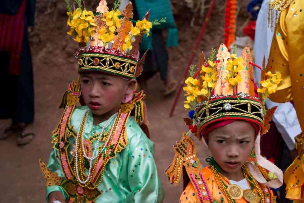 Boys in Novitiation ceremony in 'Royal Prince' costumes