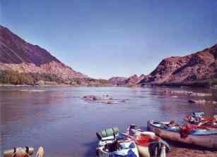 Canoeing down the Orange River, Namibia
