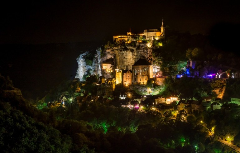 Rocamadour at night, France
