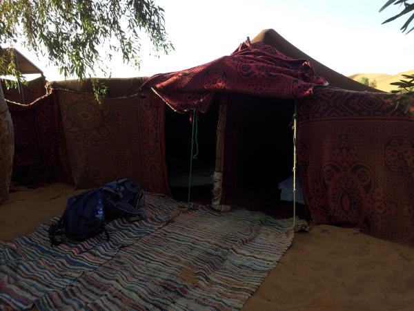 Front of our basic tent, Erg Chebbi, Sahara, Morocco