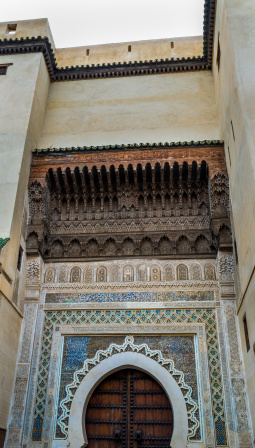 Beautifully decorated arches and mosaics, Fes