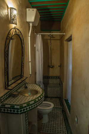 Bathroom attached to the Paprika Room, Riad Laayoun, Fes, Morocco