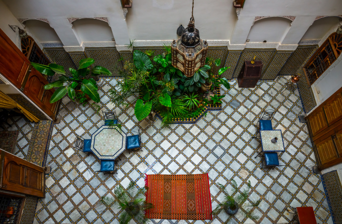 The Patio at Riad Laayoon, Fes, Morocco