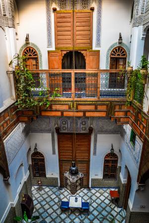 Small patio at Riad Laayoun, Fes, Morocco