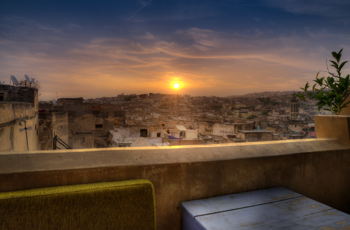 Fes Sunrise from the roof terrace of Riad Laayoun, Morocco