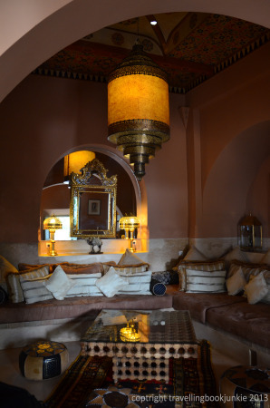 Cosy seating area inside Riad Camilia, Marrakech, Morocco